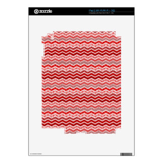 Red White Chevron Geometric Designs Color Decal For The iPad 2