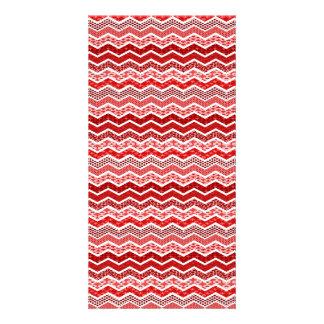 Red White Chevron Geometric Designs Color Personalized Photo Card