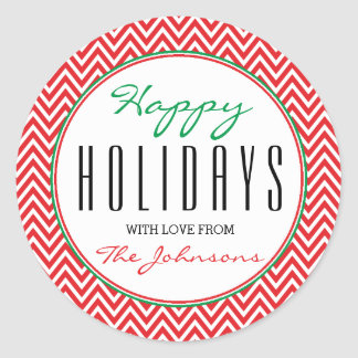 "Red & White Chevron ""Happy Holidays"" Xmas Classic Round Sticker"