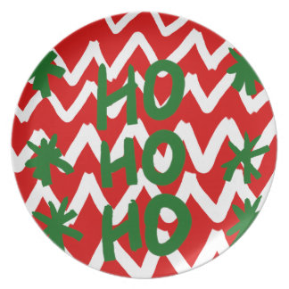 Red White Chevron Ho Ho Ho Christmas Pattern Dinner Plate