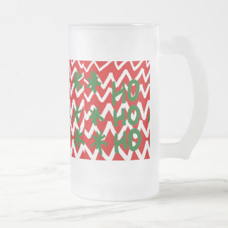 Red White Chevron Ho Ho Ho Christmas Pattern Frosted Glass Beer Mug