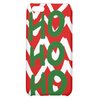 Red White Chevron Ho Ho Ho Christmas Pattern iPhone 5C Cases