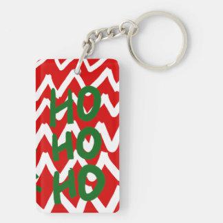 Red White Chevron Ho Ho Ho Christmas Pattern Keychain