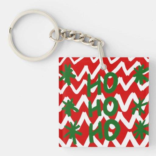 Red White Chevron Ho Ho Ho Christmas Pattern Acrylic Keychain