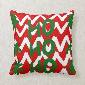 Red White Chevron Ho Ho Ho Christmas Pattern Pillow