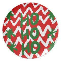 Red White Chevron Ho Ho Ho Christmas Pattern Plates