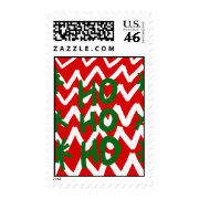 Red White Chevron Ho Ho Ho Christmas Pattern Postage