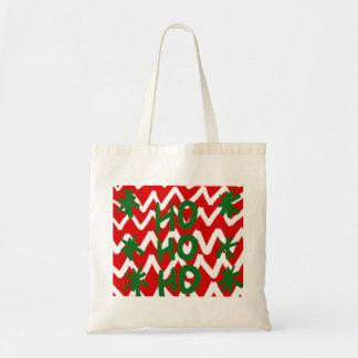 Red White Chevron Ho Ho Ho Christmas Pattern Tote Bag