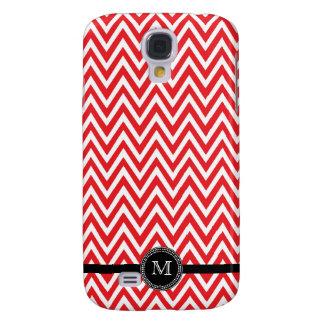 Red white chevron monogram iphone 3 case