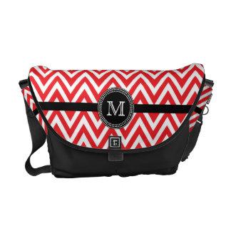 Red white chevron monogram Rickshaw messenger Courier Bags