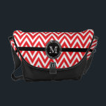 """Red white chevron monogram Rickshaw messenger Messenger Bag<br><div class=""""desc"""">This Rickshaw messenger bag has a red and white chevron zigzag pattern.  On the front,  you can easily personalize the monogram that is in a round circle.</div>"""