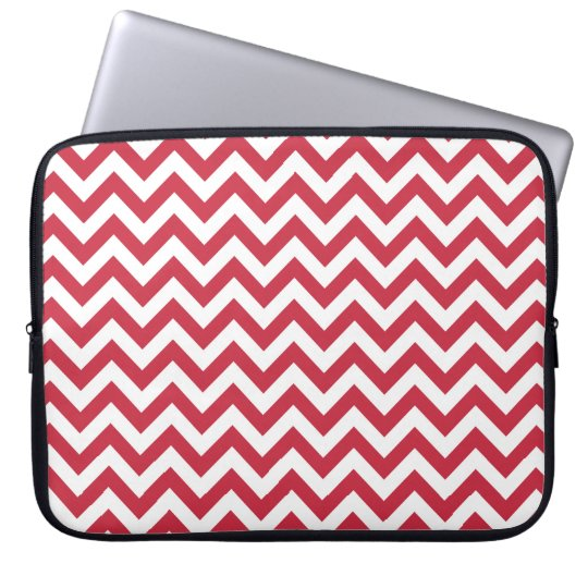 Red White Chevron Pattern Laptop Sleeve