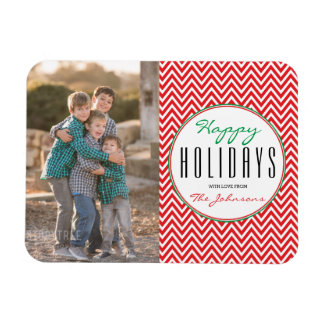 Red & White Chevron Personalized Xmas Magnet
