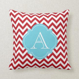 Red & White Chevron Stripes Blue Monogram Pillow
