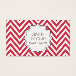 Red & White Chevron Stripes Hair Stylist Cards