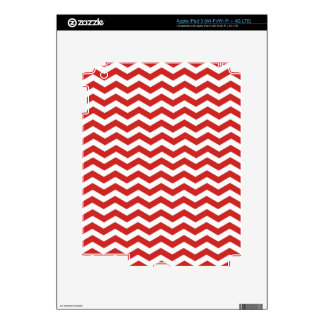 Red White Chevron. Zigzag Pattern Decals For iPad 3
