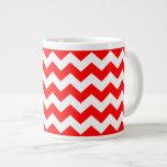 Red White Chevron Zigzag Stripe Pattern Giant Coffee Mug