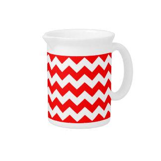 Red White Chevron Zigzag Stripe Pattern Drink Pitcher