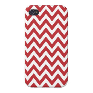 Red White Chevron Zigzag Stripes iPhone 4/4S Cases