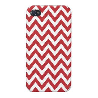 Red White Chevron Zigzag Stripes iPhone 4 Case
