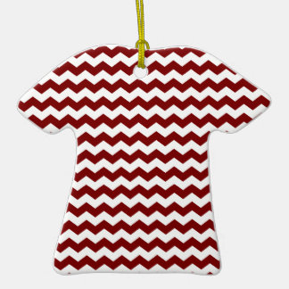 Red white chevrons Double-Sided T-Shirt ceramic christmas ornament