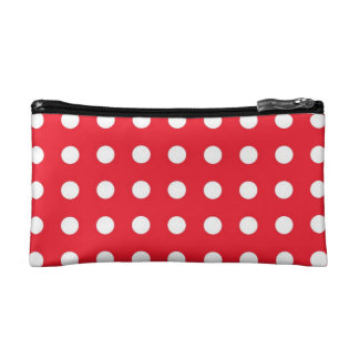 Red White Chic Polka Dot Small Cosmetic Bag