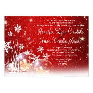Red White Christmas Holiday Wedding Invitations
