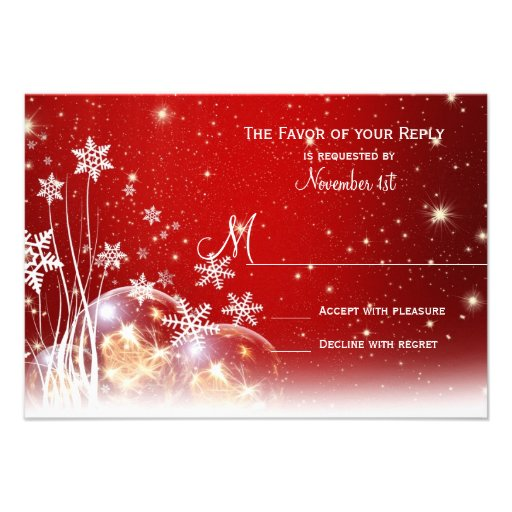 Red White Christmas Holiday Wedding RSVP Cards Personalized Announcements
