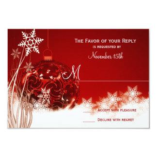 Red White Christmas Holiday Wedding RSVP Cards Announcement