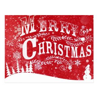Red White Christmas Setting Postcard
