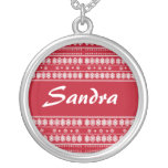 Red white Christmas Snowflake Pattern Personalized Necklace