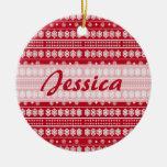 Red white Christmas Snowflake Pattern Christmas Tree Ornaments