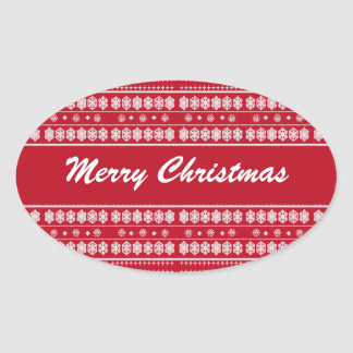 Red White Christmas Snowflake Pattern Oval Sticker