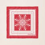"Red White Christmas Snowflake Square Chiffon Scarf<br><div class=""desc"">Red White Christmas Snowflake (soft silver light greyish white) Square Chiffon Scarf.  Design by Claudine Boerner.</div>"