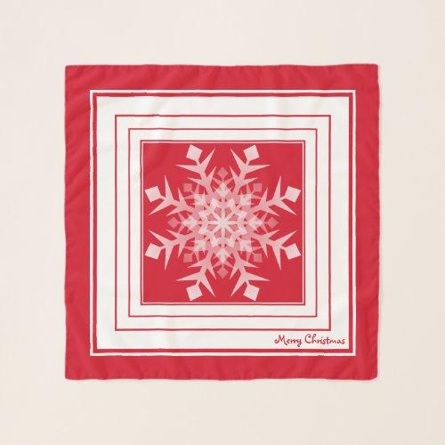 Red White Christmas Snowflake Square Chiffon Scarf
