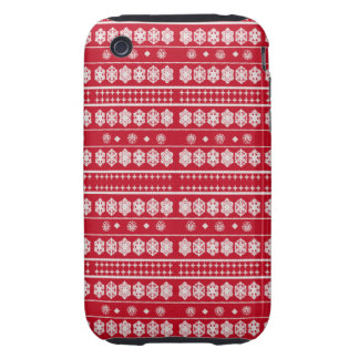 Red White Christmas Snowflakes pattern iPhone 3 Tough Case