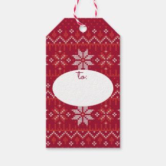 Red & White Christmas Sweater German Star Gift Tags