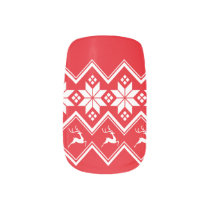 Red & White Christmas Sweater Pattern Minx Nail Art