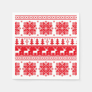 Red & White Christmas Sweater Pattern Paper Napkin