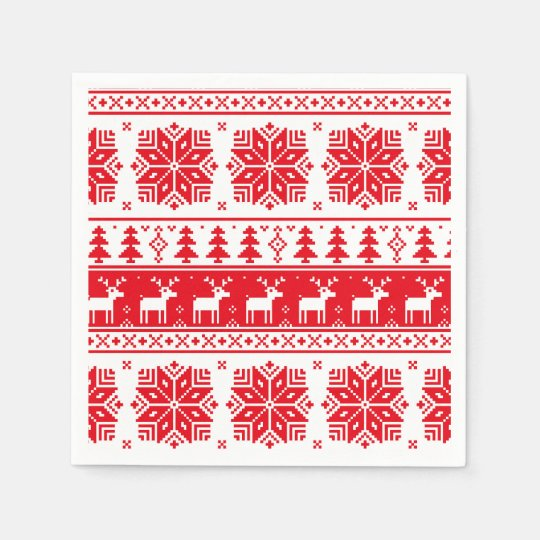 Christmas Sweater Pattern.Red White Christmas Sweater Pattern Paper Napkin