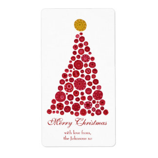 Red & White Christmas Tree Gift Present Tags Label