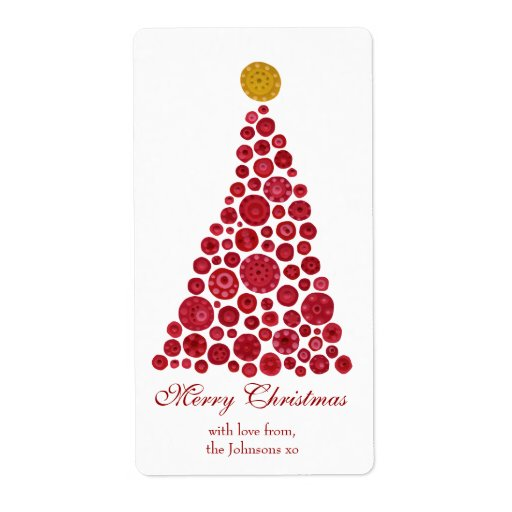 Red & White Christmas Tree Gift Present Tags Custom Shipping Labels