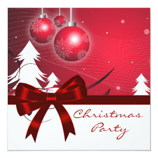 Red White Christmas Tree Red White Christmas Party Card
