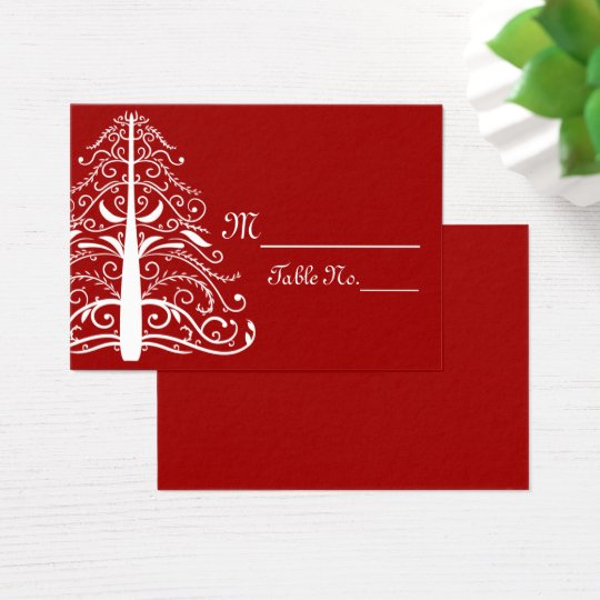 Red White Christmas Tree Winter Wedding Place Card