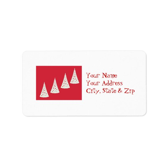Red & white Christmas trees Label