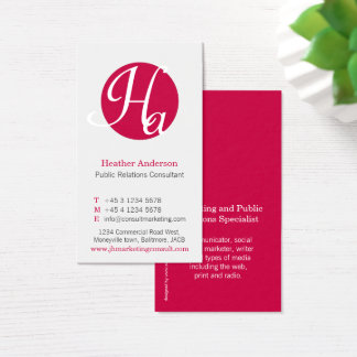 Red & white circle initial modern business card