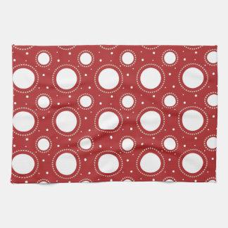 Red White Circle Pattern Hand Towel