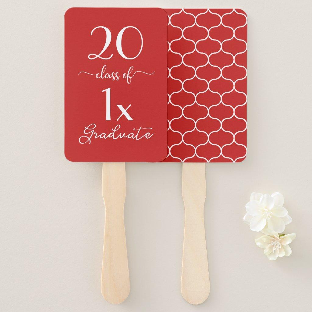 Red White Class Of [YEAR] Graduate Ogee Pattern Hand Fan
