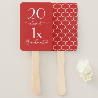 Red White Class Of [YEAR] Graduate Ogee Pattern Hand Fan