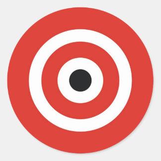 RED WHITE CLASSIC ROUND STICKER
